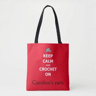 Tote Bag Gardez le calme et faites du crochet dessus - avec