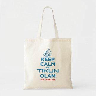 Tote Bag Gardez le calme et le Tikun Olam Fourre-tout