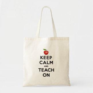 Tote Bag Gardez le calme et l'enseignez dessus