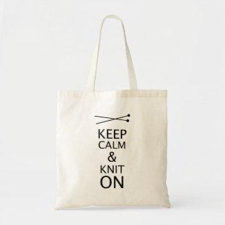 Tote Bag Gardez le Knit calme dessus • Aiguilles de tricot