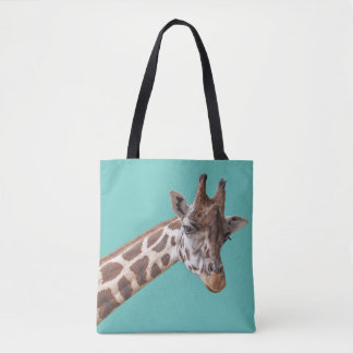 Tote Bag Girafe sur le vert turquoise