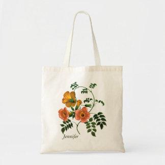 Tote Bag Grâce orange de fleur personnalisée