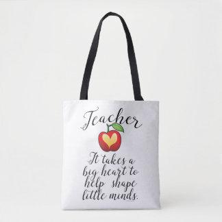 Tote Bag Grand coeur à aider à former le petit professeur