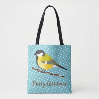 Tote Bag Grand Noël de commandant oiseau mignon de Parus de