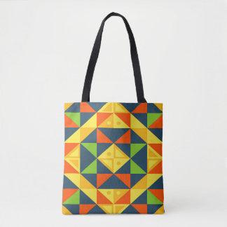 Tote Bag Grille géométrique abstraite colorée