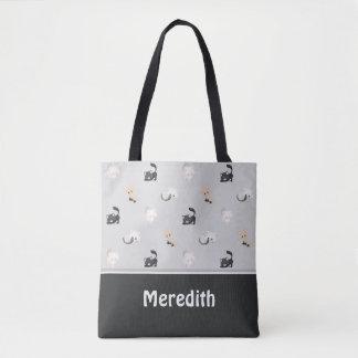 Tote Bag Gris noir adorable | du motif | de chats