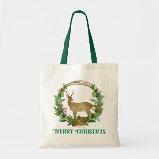 Tote Bag Guirlande de Joyeux Noël de branche de cerfs
