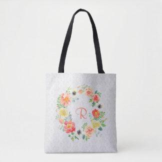 Tote Bag Guirlande florale d'aquarelle