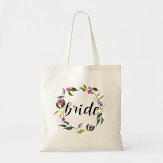 Tote Bag Guirlande florale de jeune mariée d'aquarelle