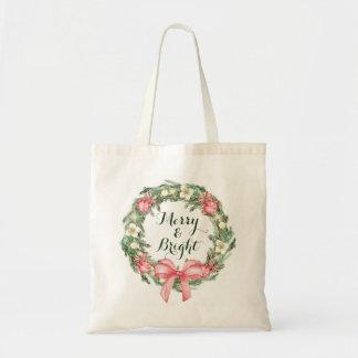 Tote Bag Guirlande verte rose de vacances de Noël joyeuse