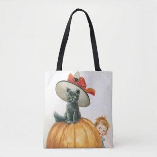 Tote Bag Halloween démodé, chat de sorcière