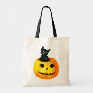 Tote Bag Halloween démodé, chat noir sur le citrouille
