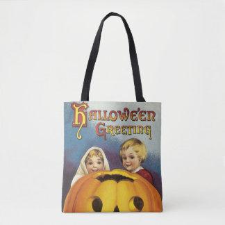 Tote Bag Halloween démodé, Chirdren et citrouille