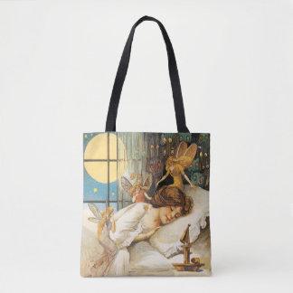 Tote Bag Halloween démodé, fille avec des fées