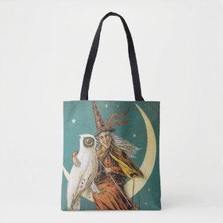 Tote Bag Halloween démodé, sorcière avec le hibou