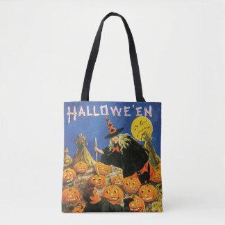 Tote Bag Halloween démodé, sorcière et citrouilles
