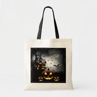 Tote Bag Halloween - lune éffrayante de gris de citrouilles