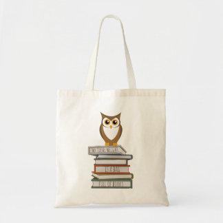 Tote Bag Hibou et pile de livres