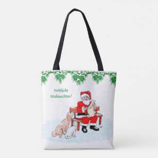 Tote Bag Homme de Noël avec le chien et le chat sur