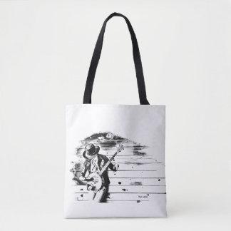 Tote Bag Homme noir et blanc de banjo - arrière - plan