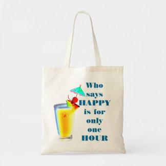 Tote Bag Humour d'heure heureuse de boissons de parapluie