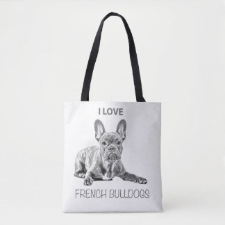Tote Bag I love French bouledogue a mis bas