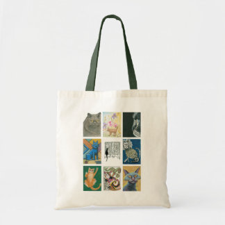 Tote Bag Illustration multiple de neuf artistes de chats