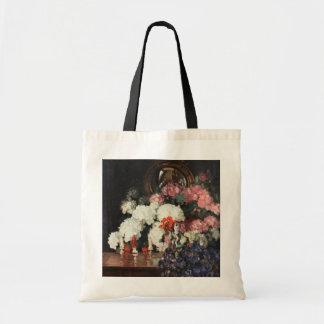 Tote Bag Illustration orientale de statues de bouquet bleu
