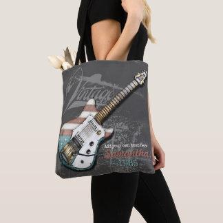 Tote Bag Illustration vintage de guitare de drapeau