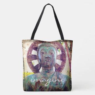 """Tote Bag """"Imaginez"""" la photo asiatique de statue en métal"""