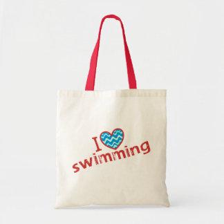Tote Bag J'aime (coeur) la natation