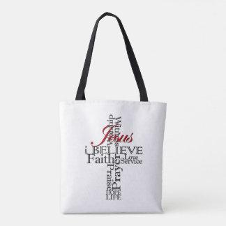 Tote Bag je crois la foi chrétienne fourre-tout