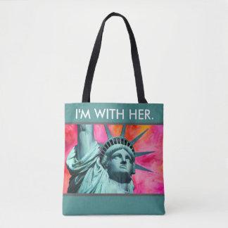 Tote Bag Je suis avec elle - Madame Liberty - statue de la
