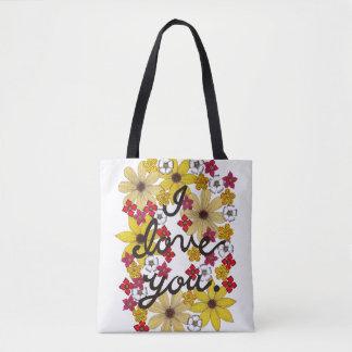 Tote Bag Je t'aime typographie avec les fleurs jaunes