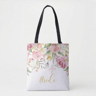 Tote Bag Jeune mariée rose Fourre-tout de verdure de roses