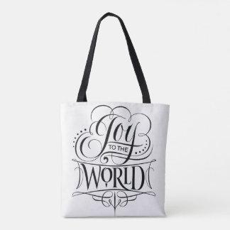 Tote Bag Joie au blanc de calligraphie de Noël du monde