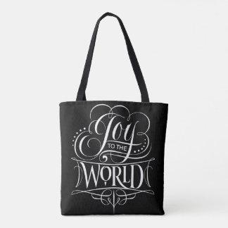 Tote Bag Joie au noir de calligraphie de Noël du monde