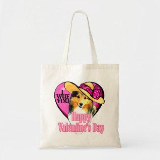 Tote Bag Jour de Valentines de Sheltie de chien de berger