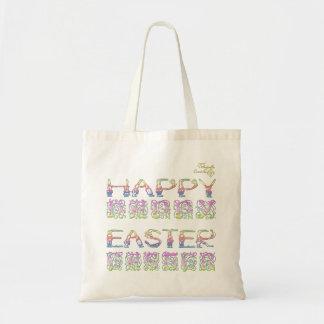 Tote Bag Joyeuses Pâques chez le lapin marquent avec des