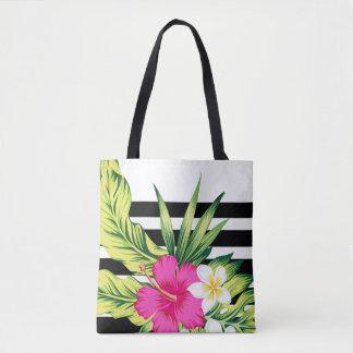 Tote Bag Ketmie rose et blanche avec les rayures noires