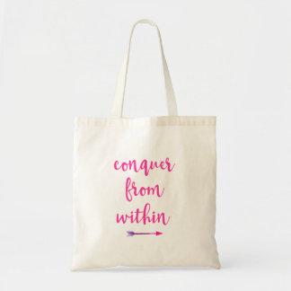 Tote Bag La citation inspirée de typographie conquièrent de