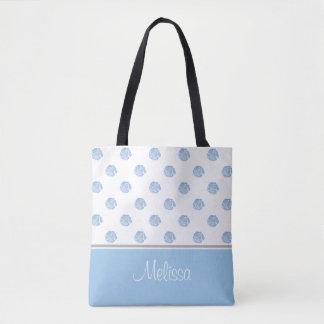 Tote Bag La fleur bleue d'aquarelle fleurit | personnalisée