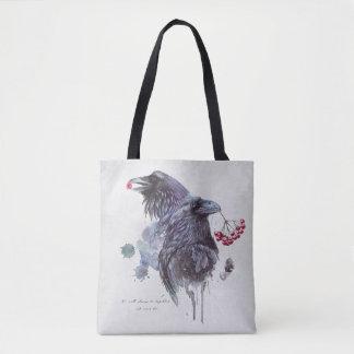 Tote Bag La paire de l'aquarelle abstraite de Ravens