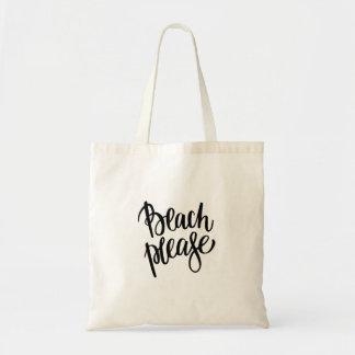 Tote Bag La plage noire moderne de brosse citent svp la