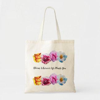 Tote Bag la vie de fleur là où vous plante fourre-tout