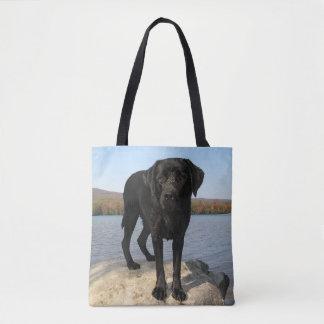 Tote Bag La vie est une plage - Labrador noir