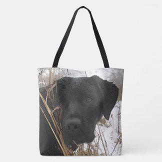 Tote Bag Labrador noir - chasse de fin de saison