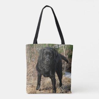 Tote Bag Labrador noir - chasse tôt à ressort