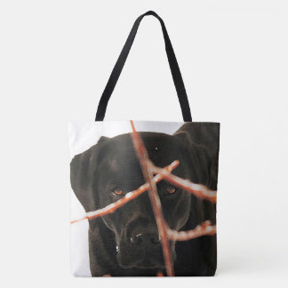 Tote Bag Labrador noir - jeter un coup d'oeil des branches