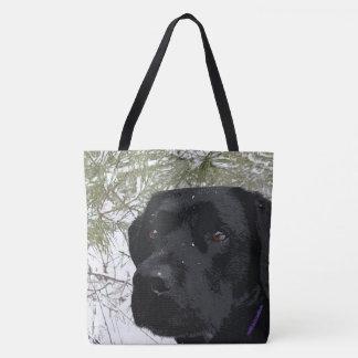 Tote Bag Labrador noir - pins de scintillement